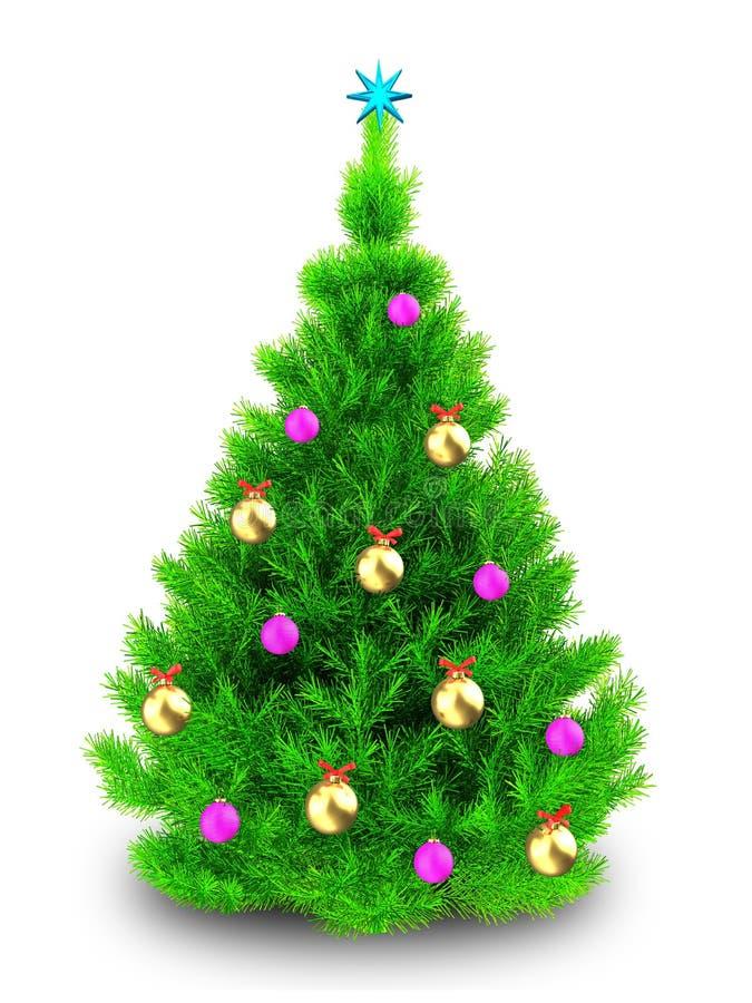 albero di Natale verde al neon 3d sopra bianco illustrazione di stock