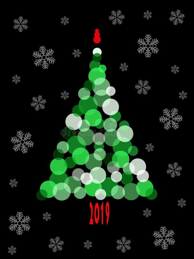 Albero di Natale verde astratto e fiocchi di neve bianchi su fondo nero royalty illustrazione gratis