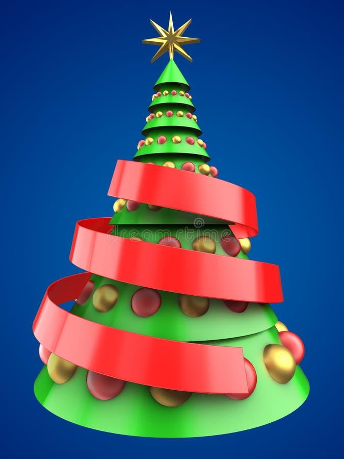 albero di Natale verde chiaro 3d illustrazione di stock