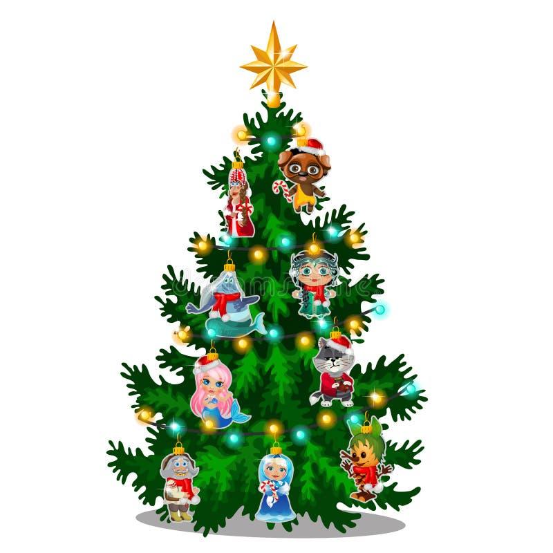 Albero di Natale verde con le figurine dipinte variopinte dei caratteri dalle fiabe famose isolati su fondo bianco illustrazione di stock