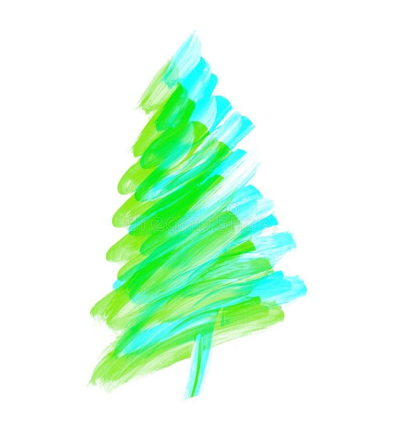 Albero di Natale di verde del colpo della spazzola illustra disegnato a mano della pittura ad olio fotografia stock