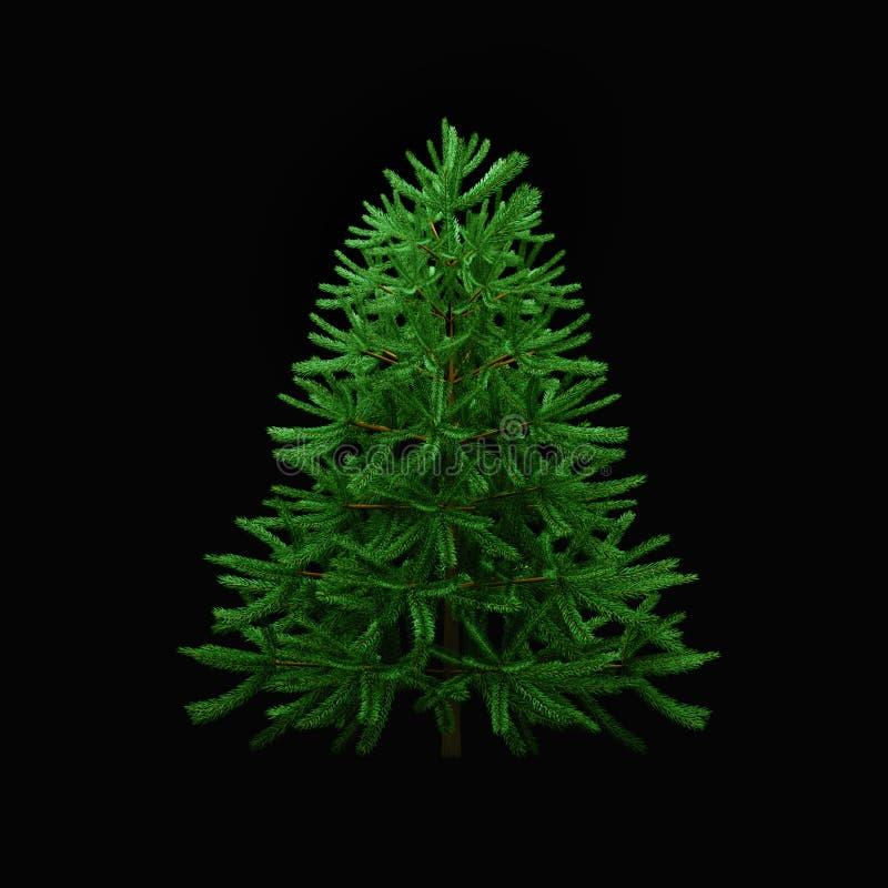 albero di Natale verde su un fondo nero 3d rendono royalty illustrazione gratis