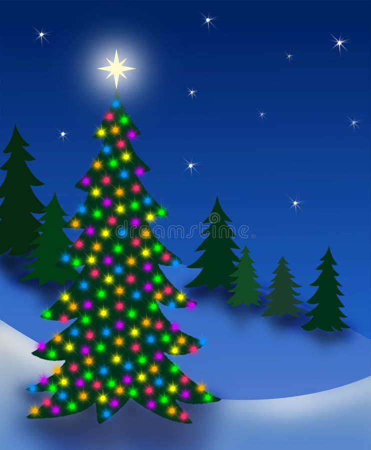 Albero di notte di Natale illustrazione vettoriale