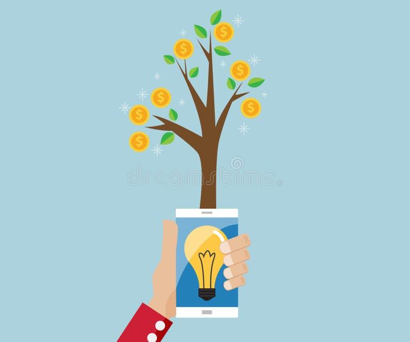 Albero di soldi dall'idea della lampadina in cellulare illustrazione di stock