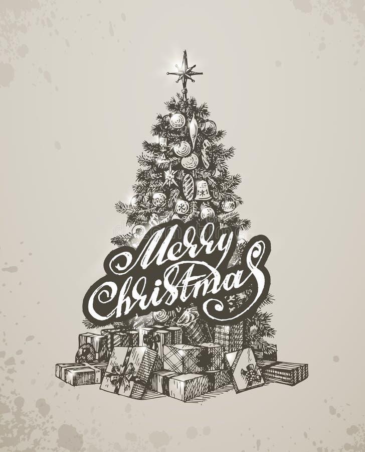Albero disegnato a mano della pelliccia di Natale per progettazione di natale royalty illustrazione gratis