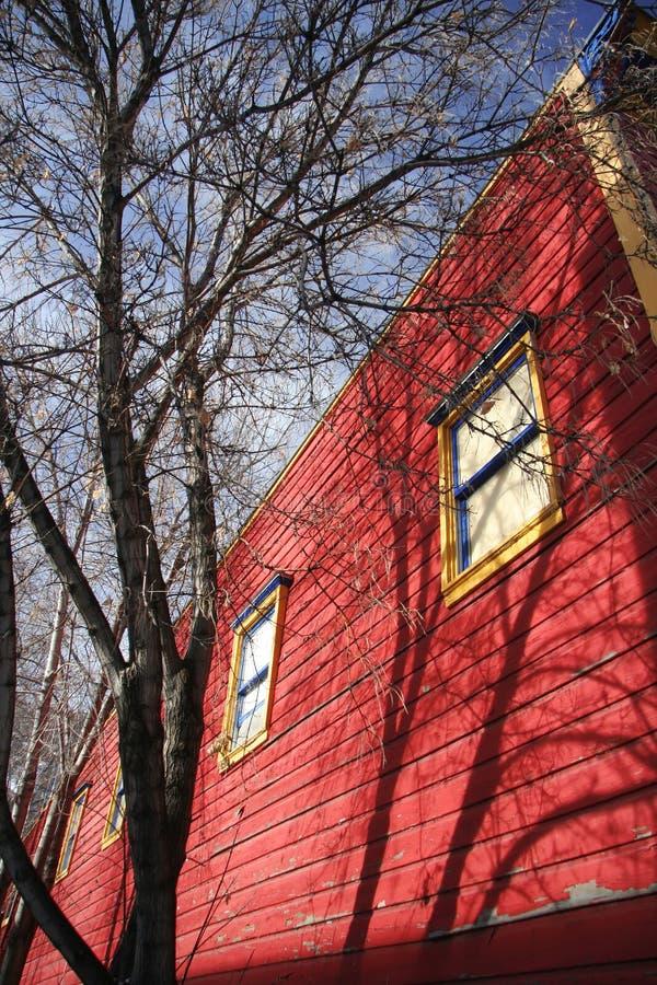 Albero e costruzione rossa fotografie stock
