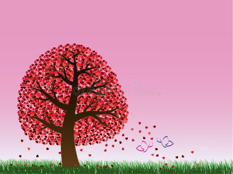 Albero e farfalle del biglietto di S. Valentino immagini stock libere da diritti