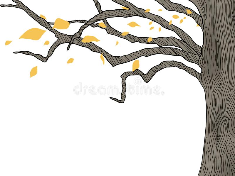 Albero e foglie cadenti royalty illustrazione gratis