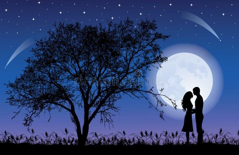 Albero e luna. illustrazione vettoriale