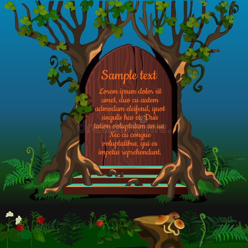 Albero e vecchia porta di legno con testo royalty illustrazione gratis
