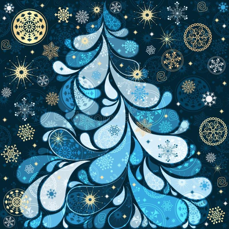 Albero fantastico di natale con Paisley, i fiocchi di neve e le stelle royalty illustrazione gratis