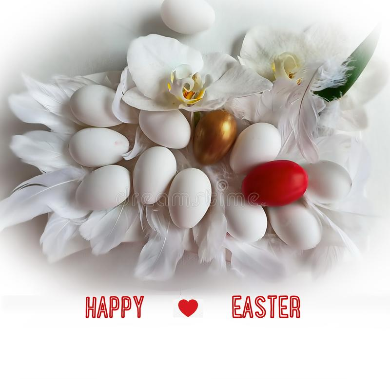 Albero felice delle uova di Pasqua e di salice sull'illustrazione gialla rossa di progettazione di festa di tema di Pasqua della  royalty illustrazione gratis