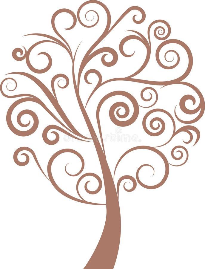 Albero floreale di turbinio decorativo, vettore illustrazione vettoriale