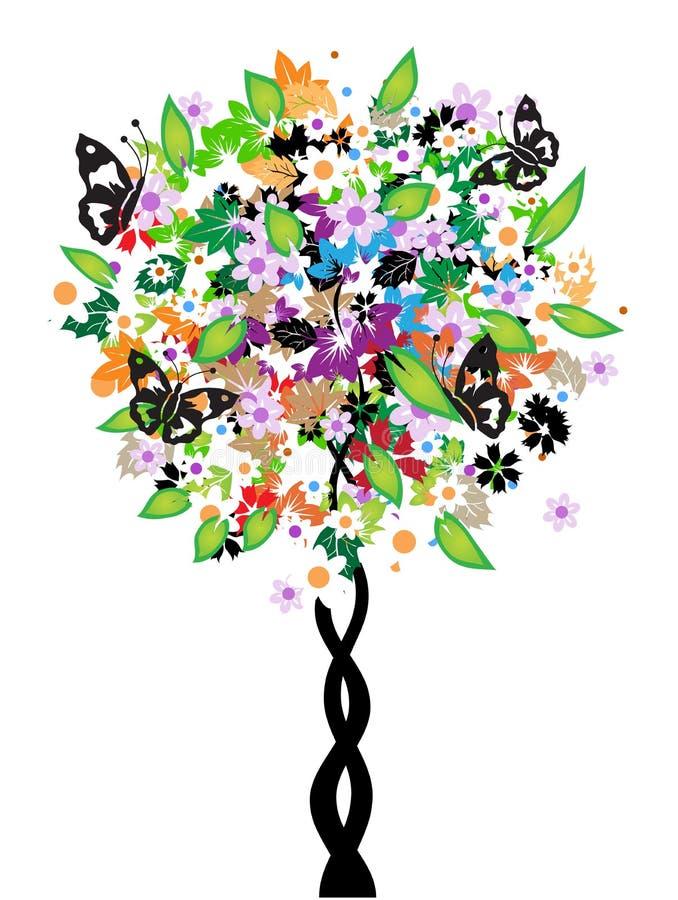 Albero floreale, farfalla illustrazione vettoriale