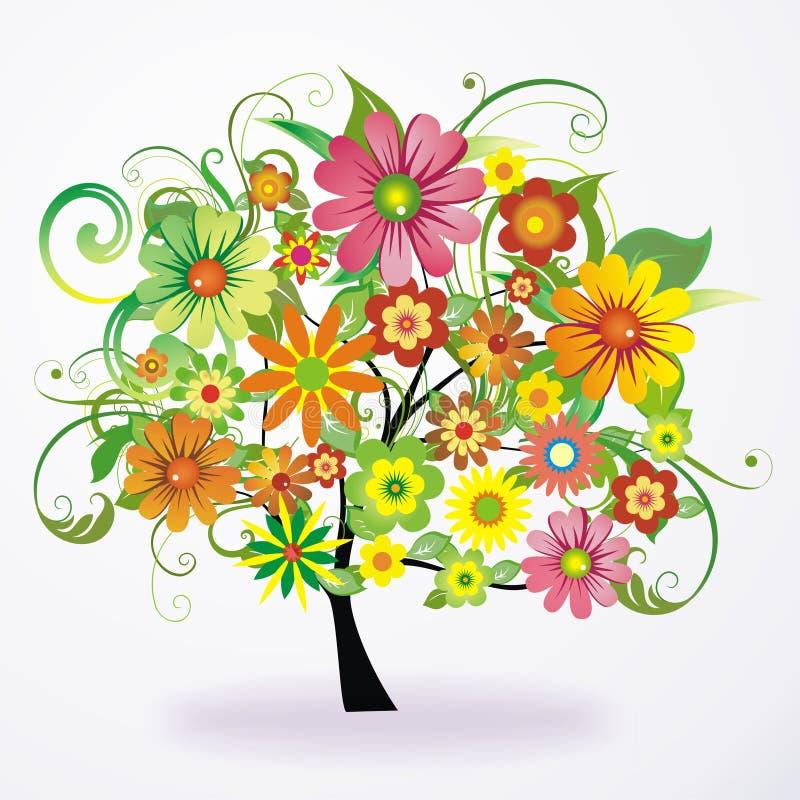 Albero floreale variopinto illustrazione di stock