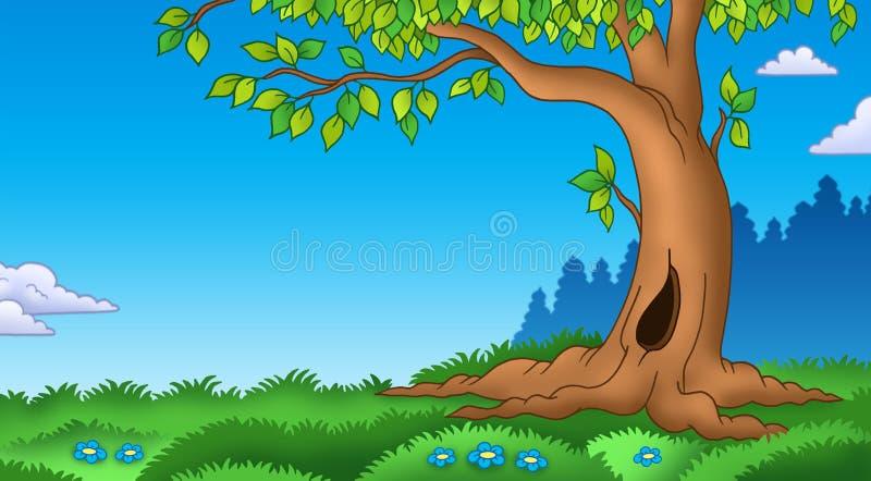 Albero frondoso nel paesaggio erboso royalty illustrazione gratis