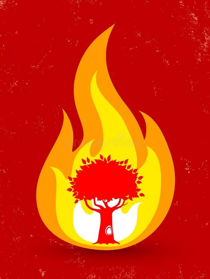 Albero in fuoco illustrazione vettoriale