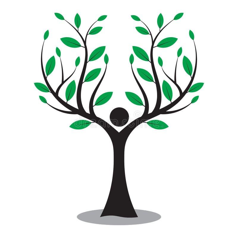 Albero genealogico, uomo dell'albero, logo della natura di amore illustrazione di stock