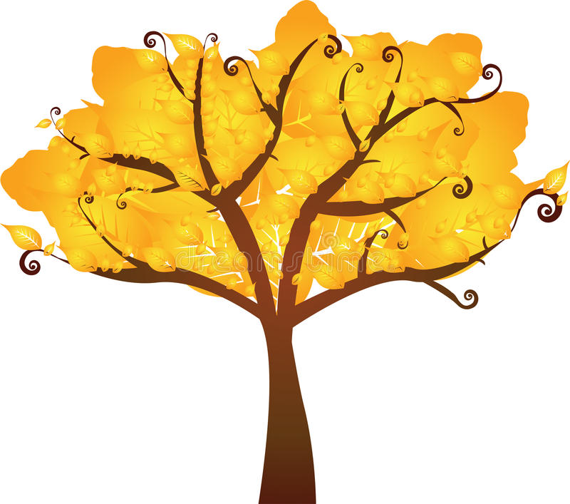 Albero giallo di autunno illustrazione vettoriale
