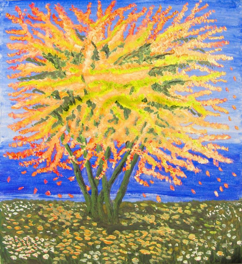 Albero giallo di autunno, pittura a olio illustrazione vettoriale