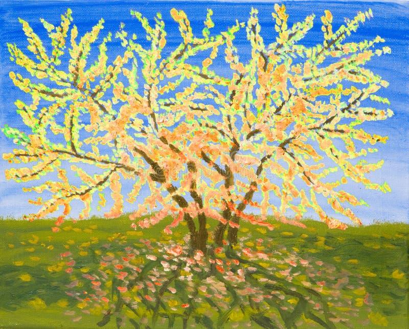 Albero giallo, pittura a olio illustrazione di stock