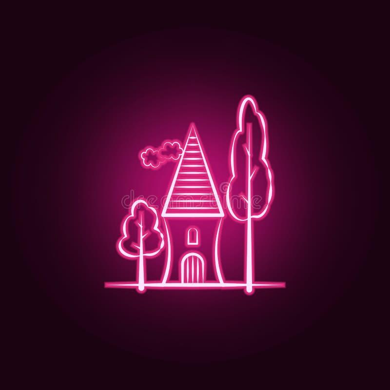 Albero, icona al neon domestica Elementi dell'insieme immaginario della casa E illustrazione di stock