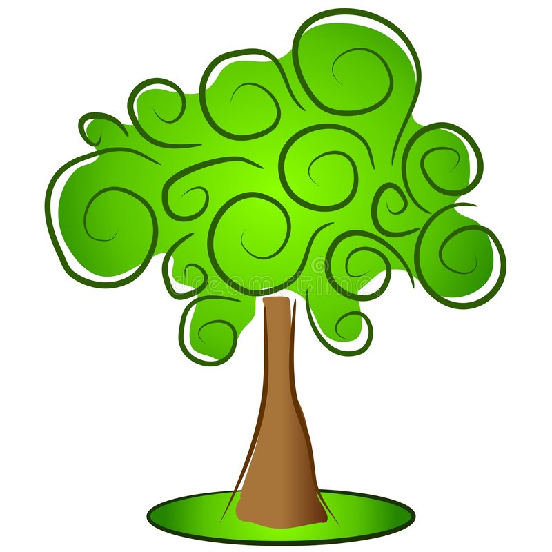 Albero isolato verde Clipart illustrazione vettoriale