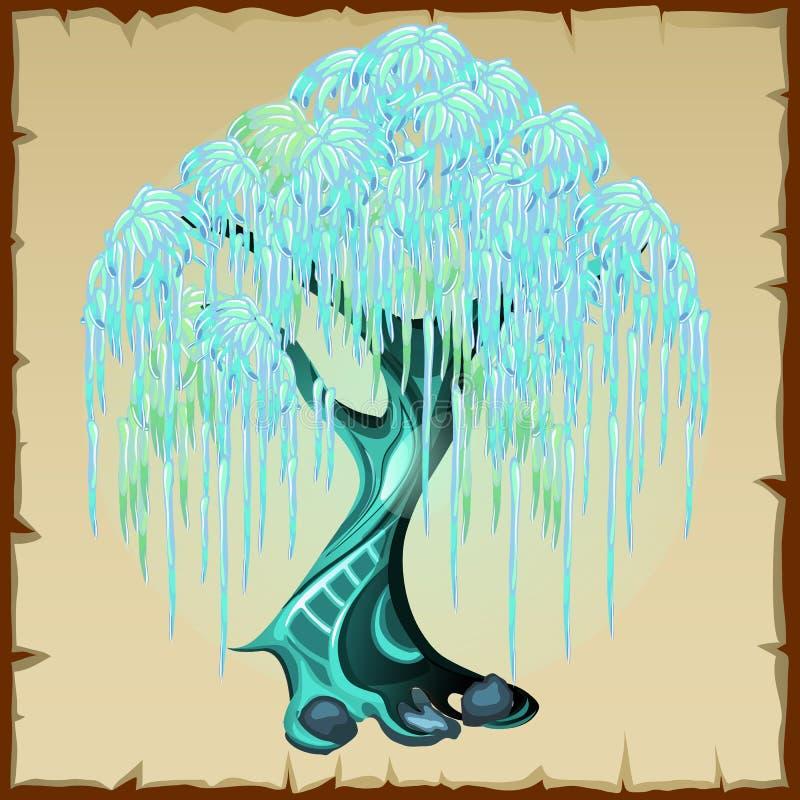 Albero leggiadramente blu con fogliame fertile illustrazione vettoriale
