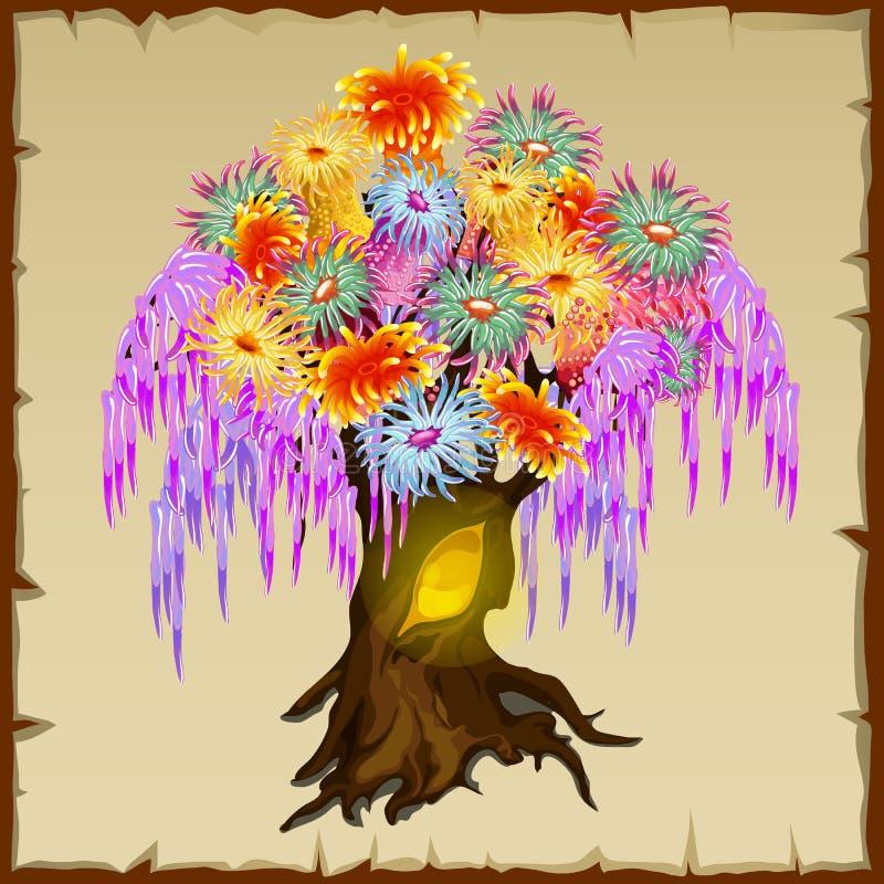 Albero leggiadramente con fogliame variopinto dei fiori illustrazione di stock