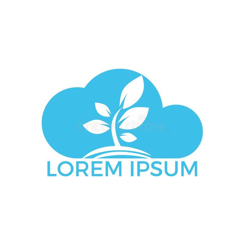Albero Logo Design della nuvola Società minima ed affare di logo della nuvola e dell'albero illustrazione di stock