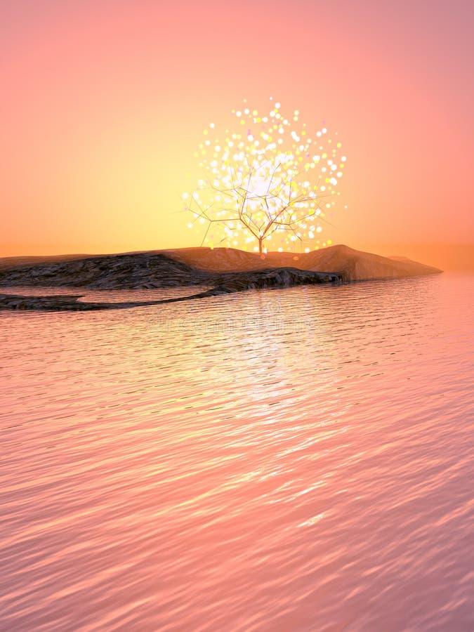 Albero luminoso su un'isola royalty illustrazione gratis