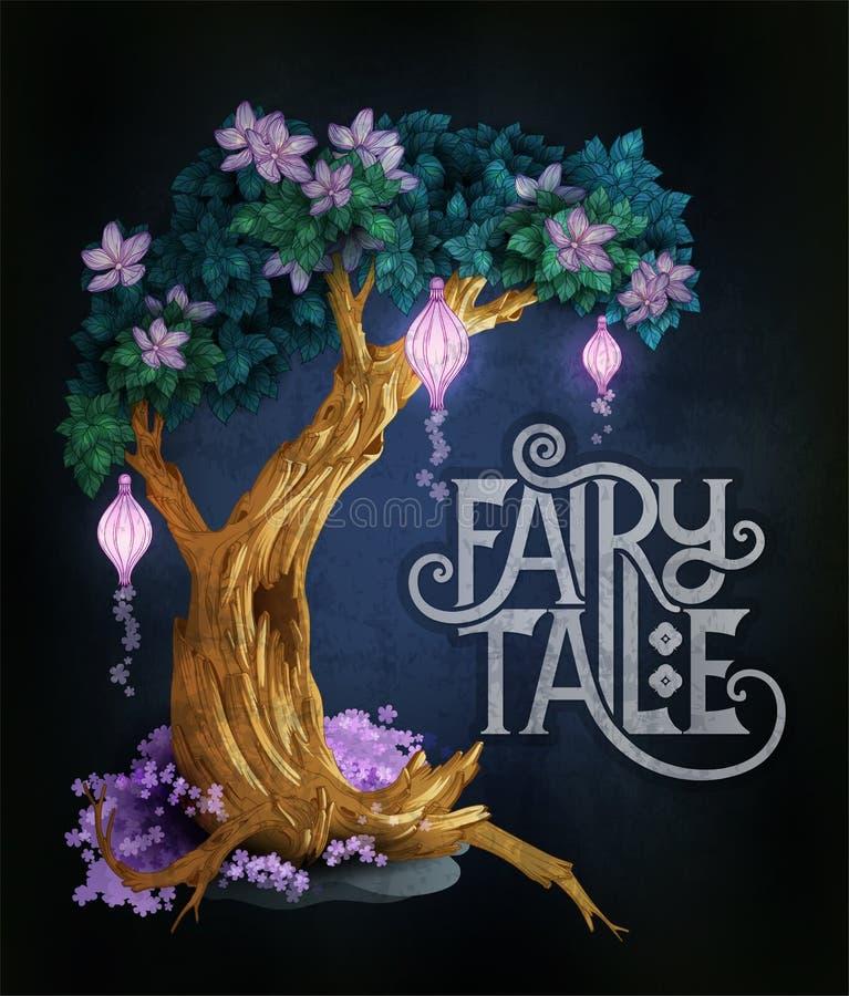 Albero magico con i fiori e le luci che emettono luce nella notte royalty illustrazione gratis