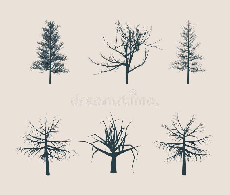 Albero morto senza siluette delle foglie illustrazione di stock