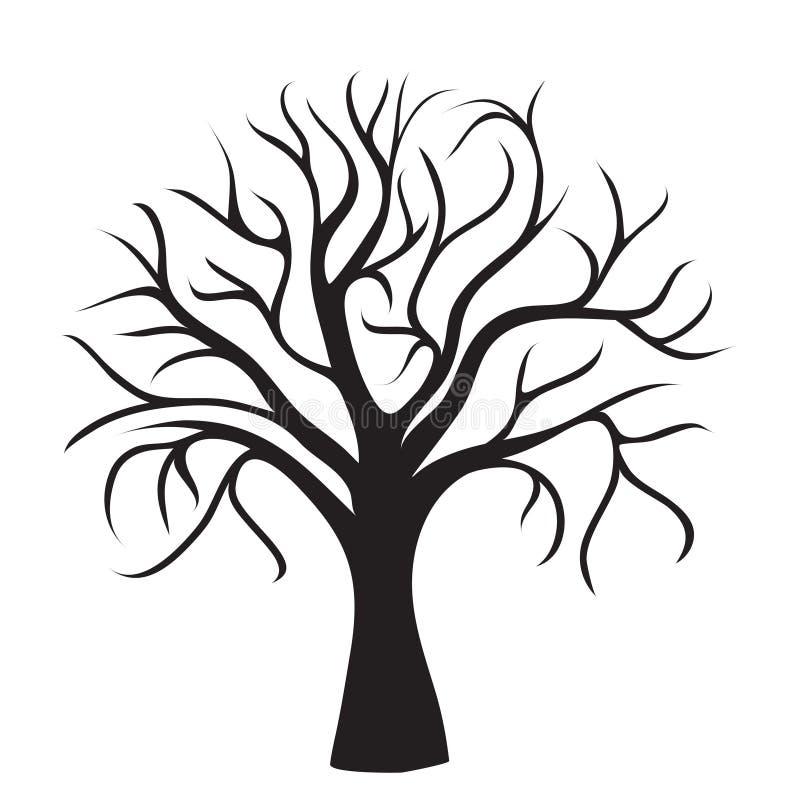Albero nero senza fogli illustrazione di stock