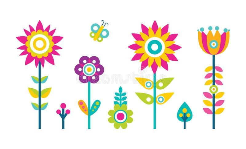 Albero piano dell'estratto di progettazione di stile della raccolta dei fiori illustrazione vettoriale