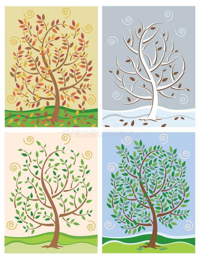 Albero in quattro stagioni royalty illustrazione gratis