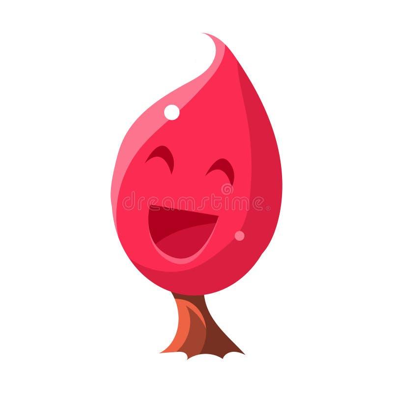 Albero rosa con il fronte sorridente, terra di Candy di fiaba che abbellisce correttamente elemento nell'oggetto isolato progetta illustrazione di stock