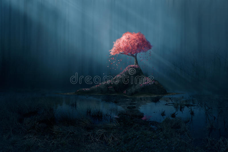 Albero rosa in foresta blu illustrazione vettoriale