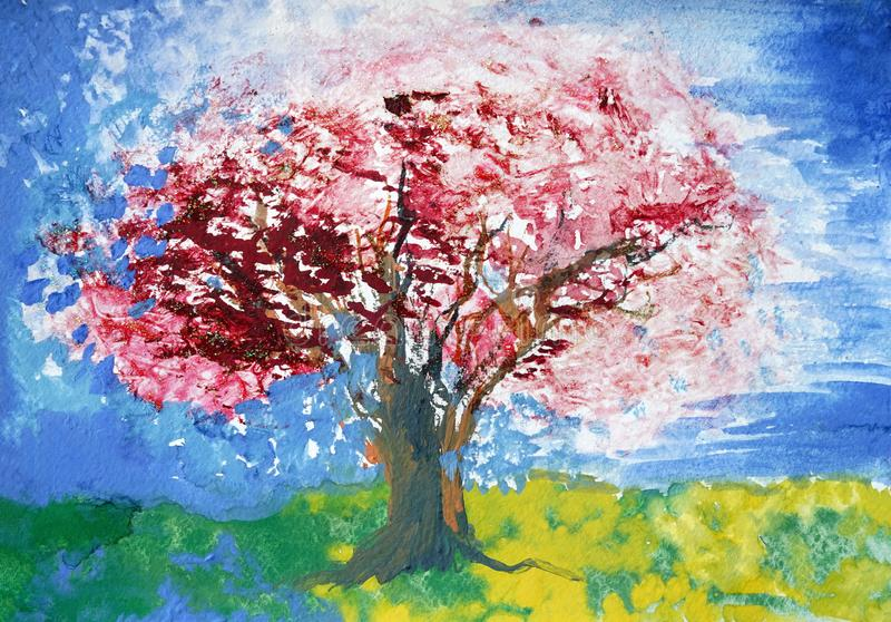 Albero rosa-rosso del fiore, cielo blu fotografia stock libera da diritti