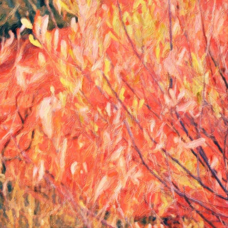Albero rosso australiano del centro, stile della pittura a olio fotografia stock libera da diritti
