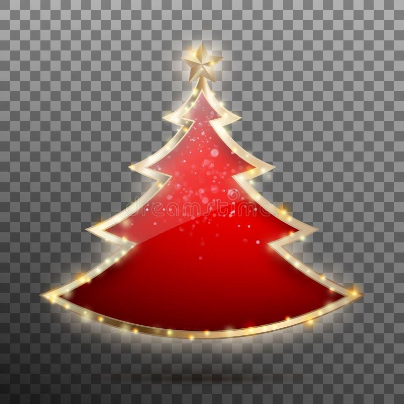 Albero rosso del nuovo anno fatto di vetro e delle stelle Vettore di ENV 10 illustrazione vettoriale