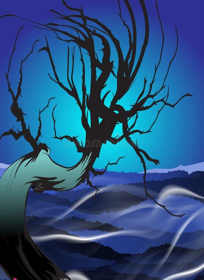 Albero secco vettore Paesaggio di notte con l'albero secco nella nebbia illustrazione di stock