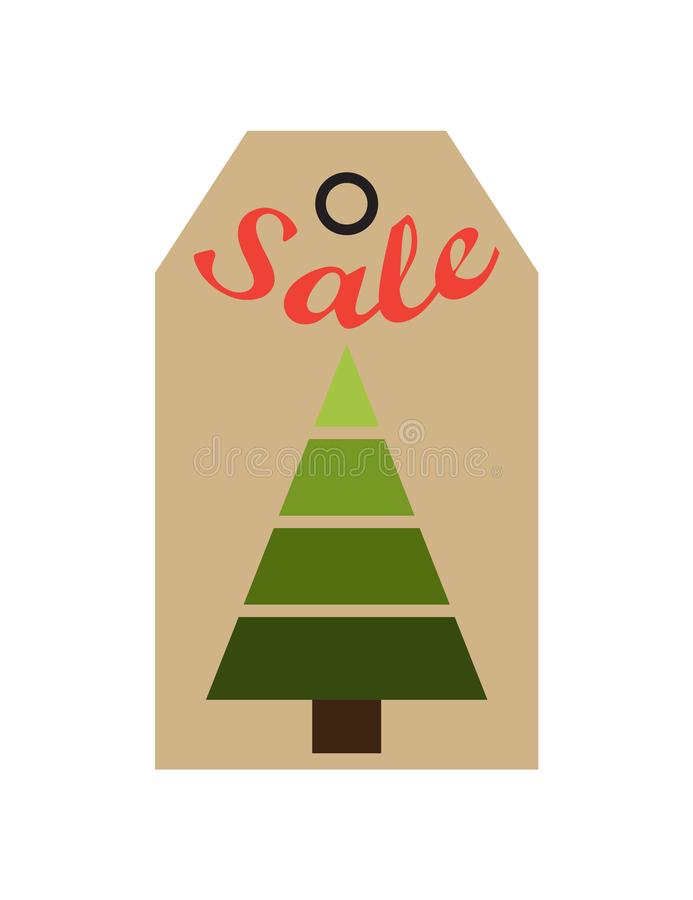Albero sempreverde dell'etichetta di promo di vendita delle figure geometriche royalty illustrazione gratis