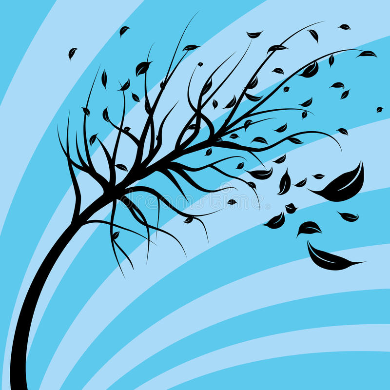Albero soffiato vento royalty illustrazione gratis