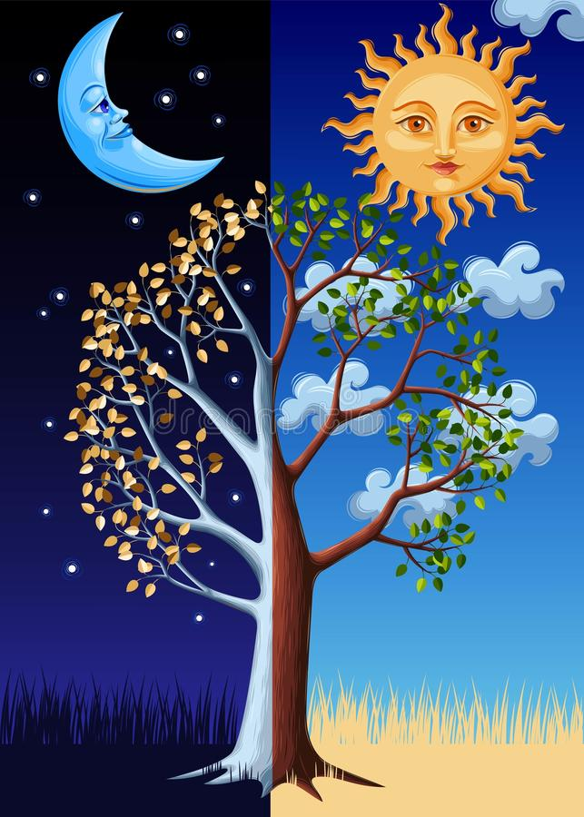 Albero, sole e luna illustrazione di stock