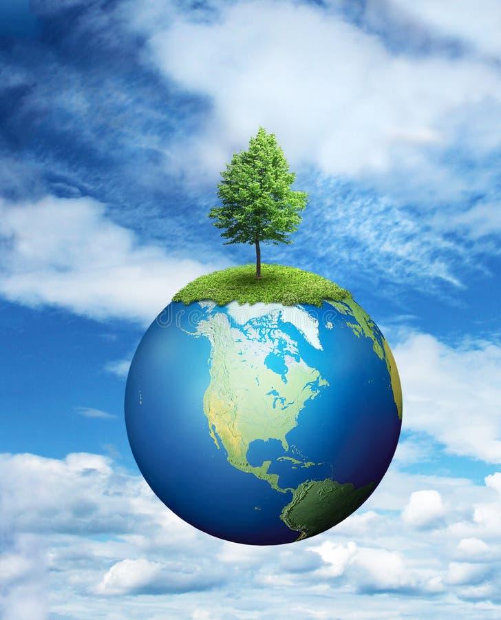 Albero solo che cresce sul pianeta Terra illustrazione di stock