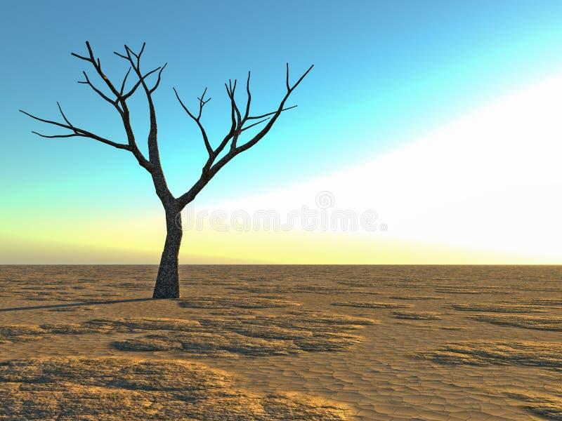 Albero solo morto nel deserto illustrazione vettoriale