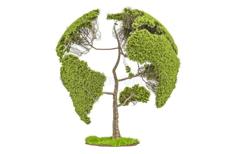 Albero sotto forma del globo della terra, concetto dell'ambiente 3d rendono illustrazione vettoriale