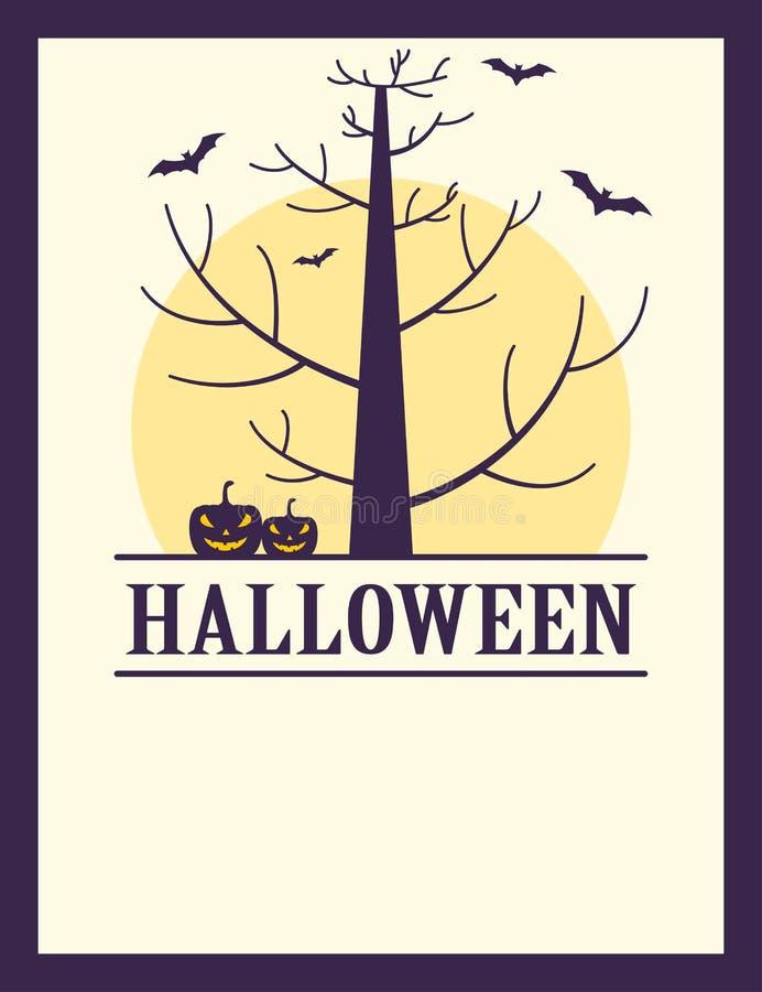 Albero spettrale d'annata di Halloween, zucche e manifesto dei pipistrelli illustrazione di stock