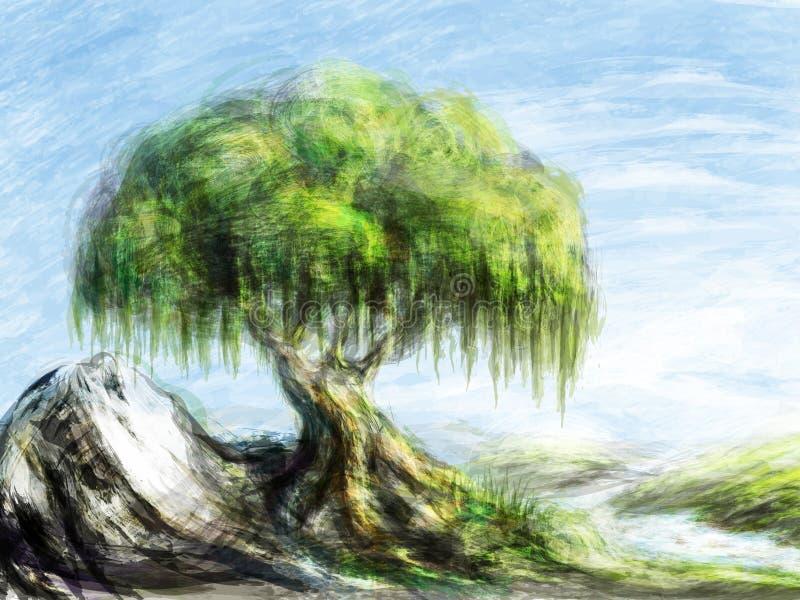 Albero su una roccia royalty illustrazione gratis